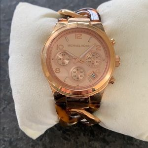 Michael Kors rose gold tort chain band watch